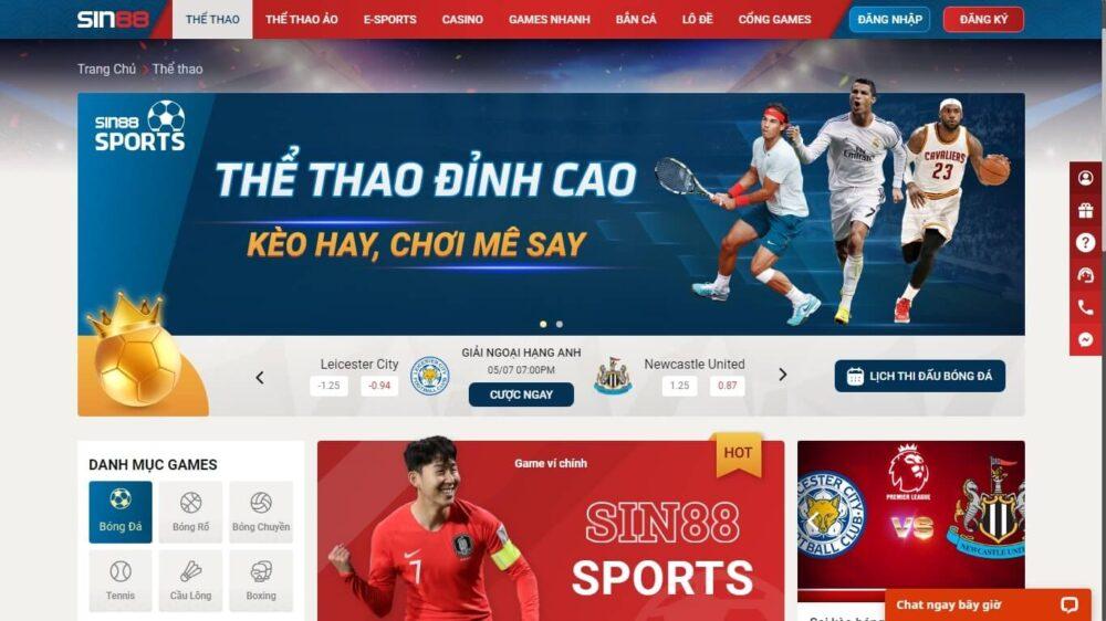 Cá cược thể thao trực tuyến sôi động Sin88