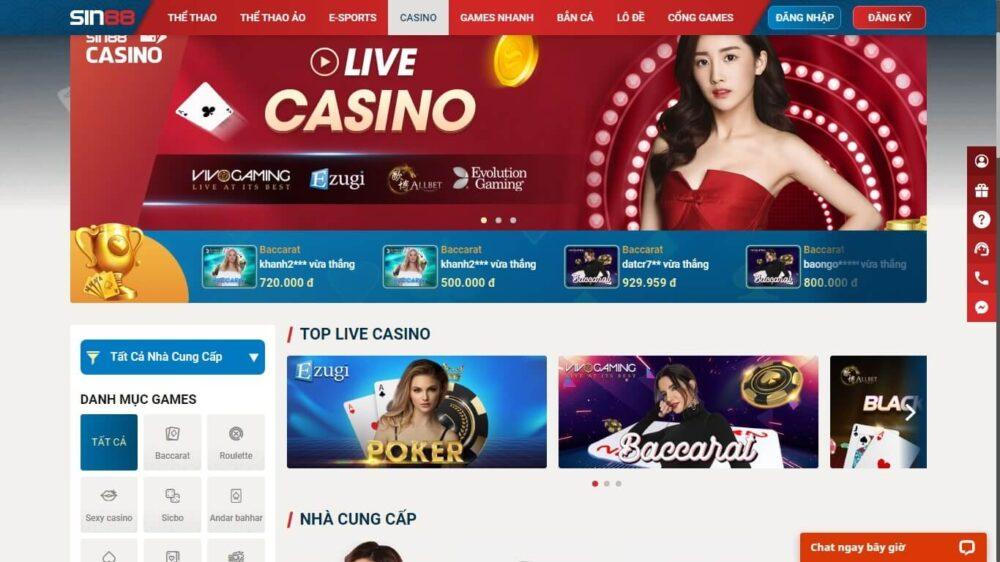 Casino trực tuyến chuyên nghiệp Sin88