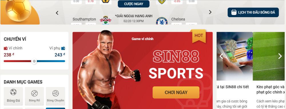 Chọn ví chính ví phụ cá cược Boxing Sin88