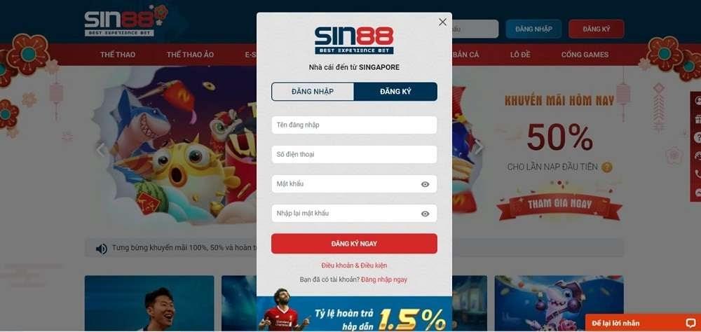Hướng dẫn đăng ký tài khoản Sin88